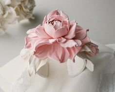Pink/white/ivory leather rose flower bracelet  Made by leasstudio, $50.00