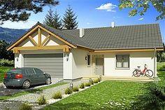 Projekt domu Ambrozja 2A garaż 135,3 m2 - koszt budowy - EXTRADOM Shed, Outdoor Structures, Cabin, House Styles, Design, Home Decor, Decoration Home, Room Decor, Cabins
