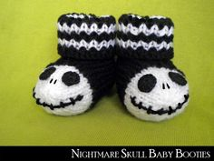 Goth Nightmare Skull Baby Booties Baby Sizes - Booties......I want them in my size