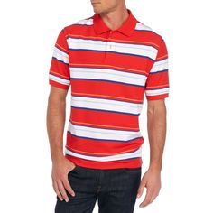 Saddlebred Red Short Sleeve Stripe Pique Polo (€15) ❤ liked on Polyvore featuring men's fashion, men's clothing, men's shirts, men's polos, red, mens red striped shirt, mens red polo shirt, mens short sleeve shirts, mens striped shirt and mens short sleeve polo shirts