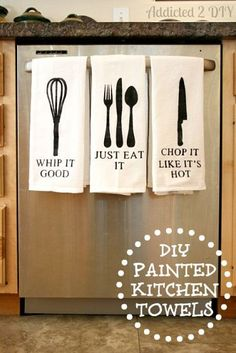 Dress up your kitchen with cute painted towels!