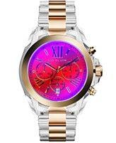 Michael Kors Women's Chronograph Bradshaw Gold-Tone Accent Clear Bracelet Watch 43mm MK5949