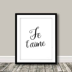 Love quote,Je t'aime,I Love You Quote,Wall Art,French Print,Typographic Print,Je t'aime Quote,French Poster,Love Typography,I Love You,Love quoteJe t'aimeI Love You QuoteWall by KeepItSimplePrint