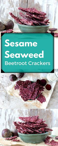 Enjoy these healthy Sesame Seaweed Beetroot Crackers which are great for dipping in soup, or eating on their own.