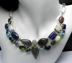 Colorful Gemstones in Various Shape One of a Kind Brass Multi-Stone Necklace #Handmade #Chain