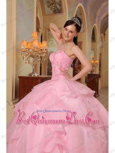 Pink Ball Gown Sweetheart Floor-length Organza Beading Quinceanera Dress