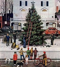 Norman Rockwell- Tree in Town Square Christmas Paint by Number (16''x20'') (pbn21753) Plaid Paint By Number Kits
