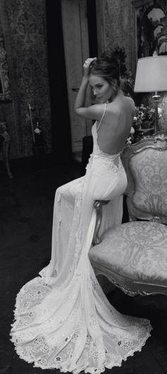 Wedding gown by Inbal Dror - wedding, wedding dress, bride, bride to be, ideas wedding Lace Wedding Dress, Backless Wedding, Backless Dresses, Lace Dress, White Dress, Dress Black, Slinky Wedding Dress, Flowy Dresses, Lace Chiffon