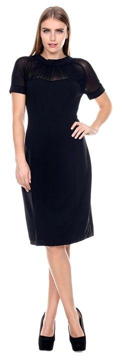 Stanzino Women's Mesh Short Sleeve Bodycon Dress *** Trust me, this is great! Click the image. : black dress