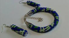 Scottish cell Jewelry Set ,Beaded, Crochet ,blue-green  Jewelry Set  ,pink bracelet, blue-green bracelet , Beadwork, bracelet ,earring by KaznovskaOlhaDesign on Etsy