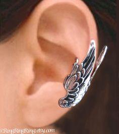 925. Large Guardian Angel Wings  - Sterling Silver ear cuff earring, Non pierced earcuff jewelry 062213 on Etsy, $49.00