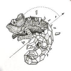 Geometric Lizard Tattoo Design