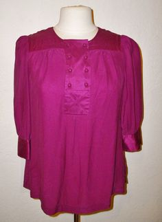 Banana Republic Purple Silk Smock Shirt Size Medium Pintuck Henley Blouse Top #BananaRepublic #Tunic #Versatile
