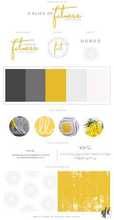Business Branding and Web Development | Web Design | Mood Board | Golden Fox Design Inspiration Brand Board for A Slice of Fitness | Brand Reveal | Stationary | Business Card | Branding | Cursive | Fonts | Lettering | Modern | Branding | Fresh | Yellow | Lemon | Web Design | Website | Blog Design | Wordpress