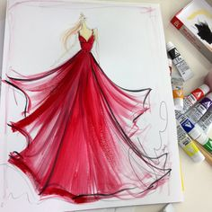 Sketch of the day: red chiffon gown. Sketch prints and originals available at ChristianSiriano.com #cssketch