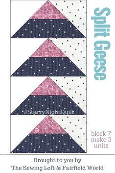 Block 7 Split Geese   Starry Night Quilt BOM
