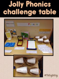 Jolly Phonics challenge table // Could be an interesting way to begin arranging materials for a phonics centre Phonics Games, Phonics Reading, Teaching Phonics, Primary Teaching, Kindergarten Literacy, Early Literacy, Teaching Ideas, Preschool Phonics, Phonics Flashcards