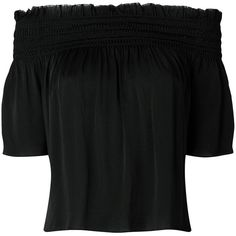 Saint Laurent off-the-shoulder blouse ($1,390) ❤ liked on Polyvore featuring tops, blouses, black, pleated blouse, silk top, smocked top, off-shoulder tops and short sleeve silk blouse