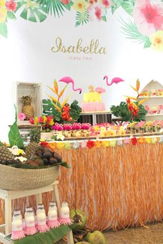 Dessert Table from a Tropical Hawaiian Flamingo Party via Kara's Party Ideas | KarasPartyIdeas.com (3)                                                                                                                                                      Más