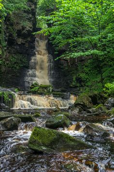 ~Forces of Nature~ Beautiful Waterfalls, Beautiful Landscapes, Oh The Places You'll Go, Places To Visit, Yorkshire Dales, North Yorkshire, Les Cascades, English Countryside, Nature Pictures