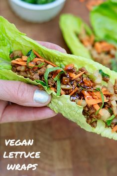 These Vegan Lettuce Wraps are fresh and crispy with an umami flavoured meaty, vegetable filling and a delicious and simple asian plum dipping sauce. Easy and healthy ingredients, ready in 20 minutes or less! Vegetarian Lettuce Wraps, Asian Lettuce Wraps, Lettuce Wrap Recipes, Pf Changs Lettuce Wraps, Vegan Dinner Recipes, Whole Food Recipes, Vegetarian Recipes, Vegetarian Sandwiches, Vegetarian Diets