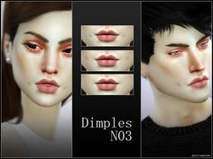 Sweet dimples + lip contour in 5 styles for your sims.  Found in TSR Category 'Sims 4 Female Skin Details'