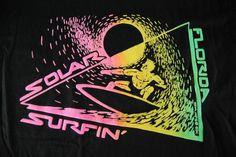 Vintage TShirt Neon Puffy Print California Wind Surfing Black Tee 80s 90s  XL