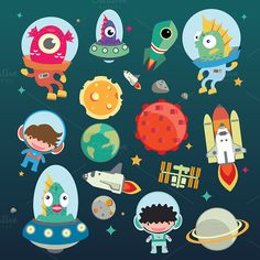 Planet Cartoon Set by beerjunk on @graphicsmag