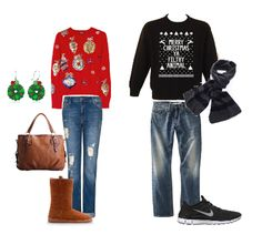 Couples ugly Christmas sweater outfits