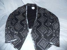 Parker Embellished Bolero Jacket Black with Silver Detail Size S #Parker #BoleroShrug