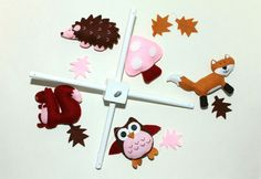 Felt Baby Crib Mobile Pattern. Woodland Animals DIY Mobile Sewing PDF. Includes fox, squirrel, owl and hedgehog.