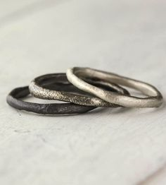 Free-Formed Sterling Silver Stacking Rings – Set of 3 by 36Ten on Scoutmob Shoppe. This trio of hand-forged sterling silver stacking rings is practically begging for a rugged adventure.