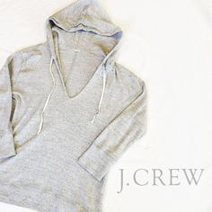 J. Crew V-Neck Pullover Hoodie (Size S) Lightweight, perfect for spring and summer! Pairs perfectly with jeans or shorts. Perfect condition, like new, no flaws! 3/4 sleeve. Reasonable offers welcome! J. Crew Tops Sweatshirts & Hoodies