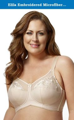 Elila Embroidered Microfiber Softcup Bra 1301 Nude - 48 - A. Embroidered Microfiber Softcup is created with embroidered microfiber which balances the functional design which gives support with balanced distribution of the bust. A garment made to be worn every day and pretty enough to make you feel special while wearing it.Fabric Content: Embroidery: 10% Rayon, 90% Polyester. Cups & Band: 100% Polyester. Cup Lining: 100% Nylon. Back: 75% Nylon, 25% Spandex.