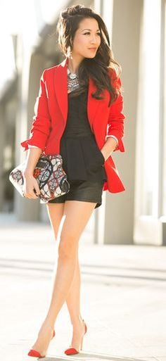 Scarlet  : Red Blazer & Layered Necklaces by Wendy's Lookbook