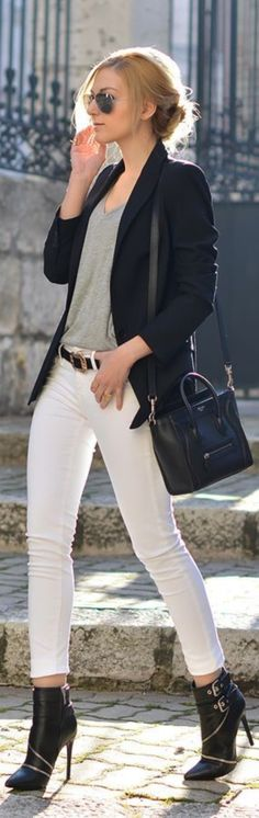 40 Perfect Outfit Ideas With White Jeans | http://stylishwife.com/2015/04/perfect-outfit-ideas-with-white-jeans.html