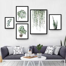 Acuarela Planta Tropical hojas Canvas Art Print Poster, hoja de la Planta Verde nórdica rural Pared Cuadros para La Decoración Casera(China (Mainland))