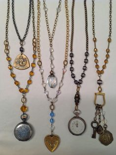 Repurposed pocket watches, lockets and charms