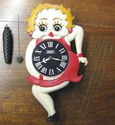 Rare Vintage Betty Boop Moving Eye Animated Novelty POPPO Wall Clock Japan GWO !