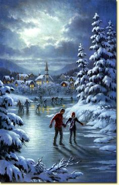 HIVER & NOEL : Belles images de Corbert Gauthier Lovely scene but I don't think I could skate on a frozen lake. I'd be terrified! Christmas Scenes, Old Fashioned Christmas, Christmas Past, Christmas Pictures, Winter Christmas, Winter Snow, Christmas Gifts, Foto Transfer, Snow Pictures