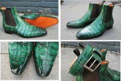 Alligatore verde & matching belt Only Shoes, Men S Shoes, Designer Shoes, Dress To Impress, Me Too Shoes, Chelsea Boots, Men's Fashion, Fabrics, Footwear