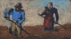 Josef Herman, Farm labourers, Oil on board on ArtStack #josef-herman #art