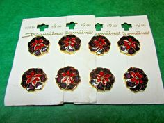 """(8)13/16"""" STREAMLINE GOLD SURROUND RED FLORAL PLASTIC SHANK BUTTONS 4-CARD(N901)"""