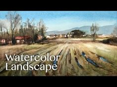 Watercolor Landscape Painting - the fields after harvest - YouTube