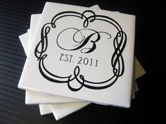 Initial tile coasters ceramic tile with felt at the bottom. vinyl for the design, then sealant to lock it in.