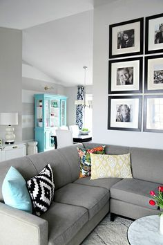 Neutral with pops of color and fun pillows