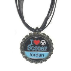 Personalized 'I Love Sports' Bottle Cap Necklace