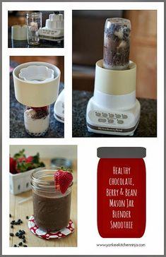 Healthy chocolate-berry-black-bean Mason jar blender smoothie | www.yankeekitchenninja.com
