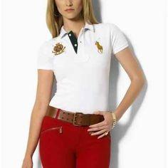 c49b8f622498 Polo Ralph Lauren Womens Crest Big Pony White Polo Ralph Lauren Outlet,  Jeanshemde, Mode