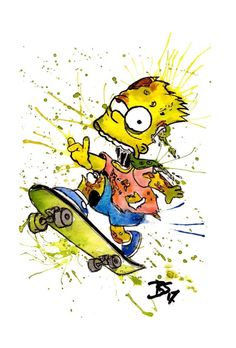 """A print of my original watercolour """"Zombie Bart"""" painting . Printed on gloss photo card. Simpsons Treehouse Of Horror, Crash Bandicoot, Handmade Items, Handmade Gifts, Goku, Photo Cards, Bart Simpson, Fictional Characters, Etsy"""